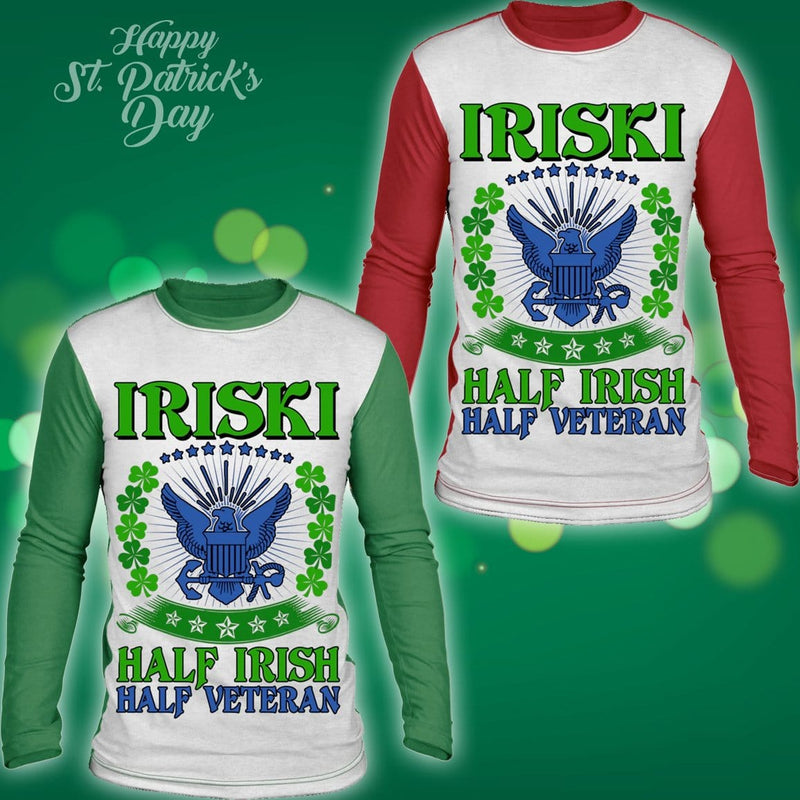 Iriski Half Irish Half Veteran Sublimated Long Sleeve Shirt
