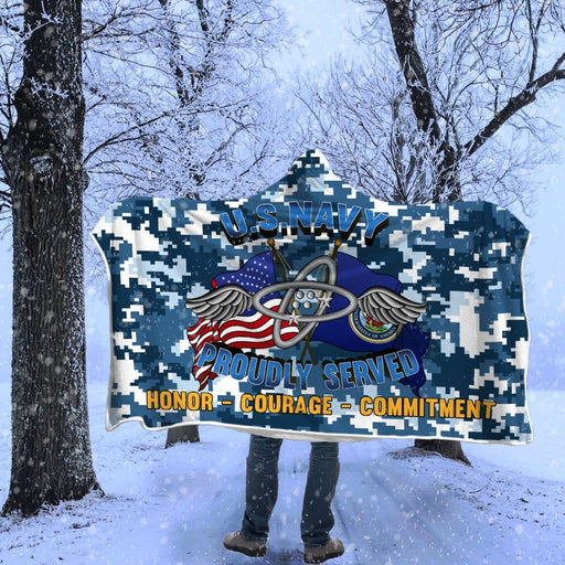 Navy Aviation Electronics Technician Navy AT Proudly Served Hooded Blanket