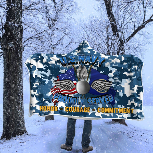 Navy Aviation Ordnanceman Navy AO Proudly Served Hooded Blanket