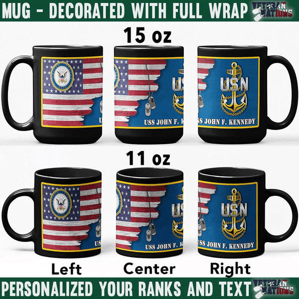 US Navy Collar - Personalized 11oz - 15oz Black Mug
