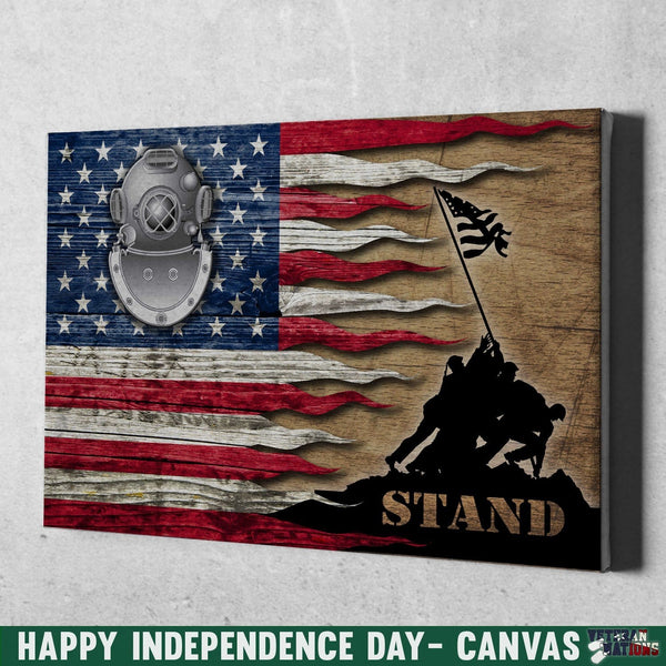 Navy Diver Navy ND Stand For The Flag 12x8 Inches Landscape Canvas .75in Frame