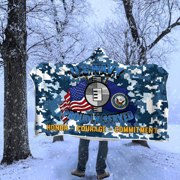 Navy Engineering Aide Navy EA Proudly Served Hooded Blanket