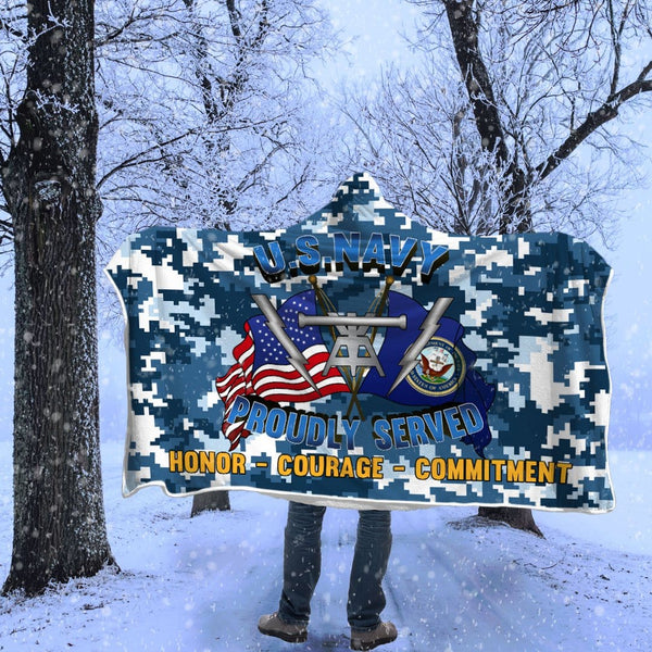Navy Fire Controlman Navy FC Proudly Served Hooded Blanket