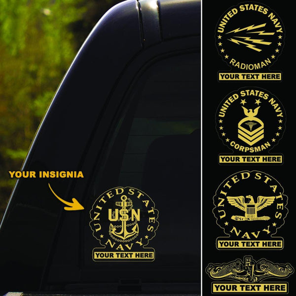 US Navy Insignia - Personalized Clear Stickers