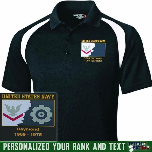 US Navy E4 - Petty Officer Third Class PO3 Rating Badge Personalized Embroidered Sport-Tek® Golf Shirt