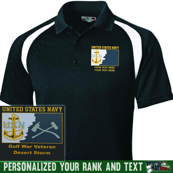 US Navy E7 - Chief Petty Officer CPO Rating Badge Personalized Embroidered Sport-Tek® Golf Shirt