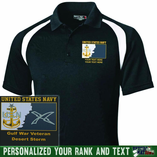US Navy E8 - Senior Chief Petty Officer SCPO Rating Badge Personalized Embroidered Sport-Tek® Golf Shirt