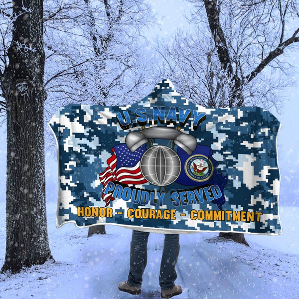 Navy Interior Communications Electrician Navy IC Proudly Served Hooded Blanket