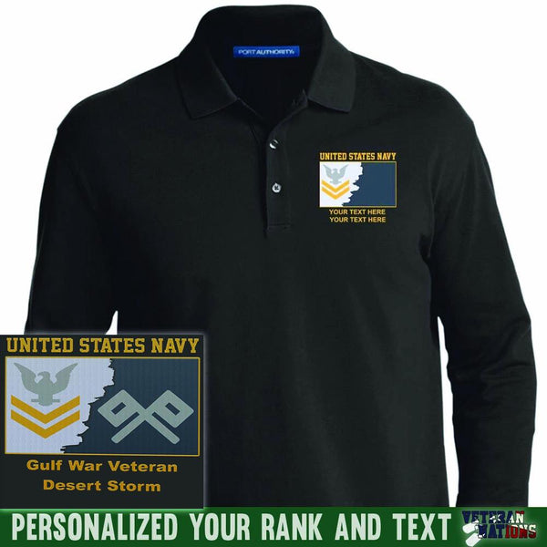 US Navy E5 Gold - Stripe Petty Officer Second Class PO2 Rating Badge Personalized Embroidered Port Authority® LS Polo Shirt