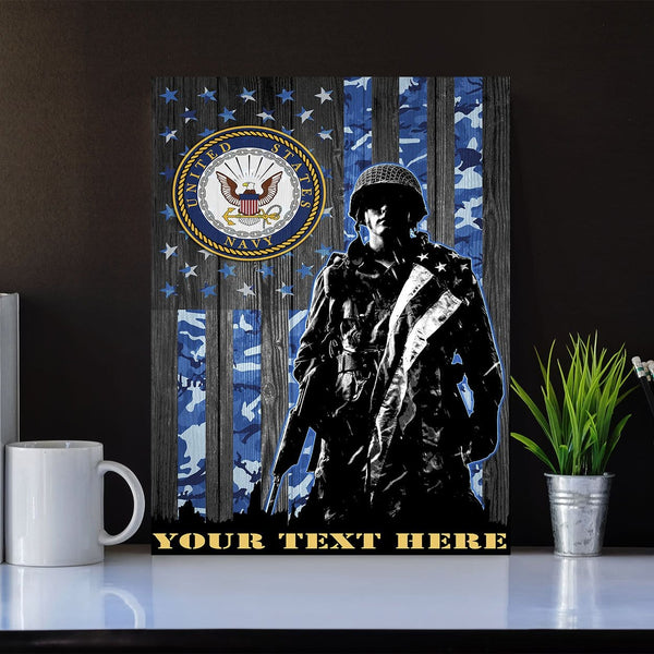 Personalized Canvas Soldier - U.S. Navy Logo - Personalized Your Text