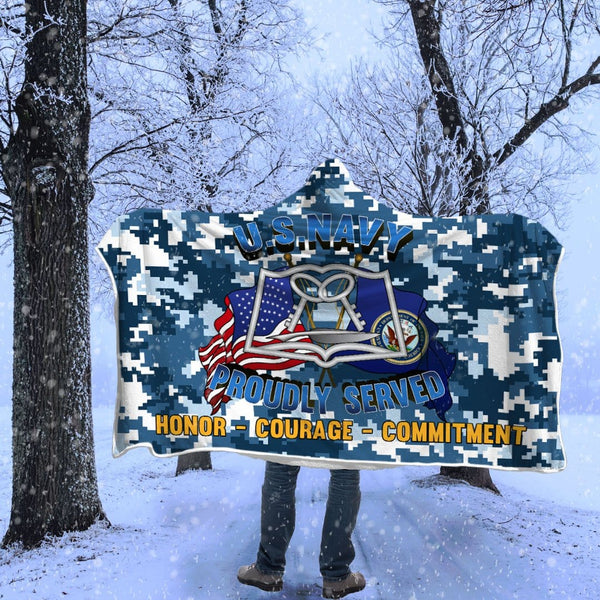 Navy Mess Management Specialist Navy MS Proudly Served Hooded Blanket