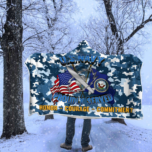 Navy Missile Technician Navy MT Proudly Served Hooded Blanket