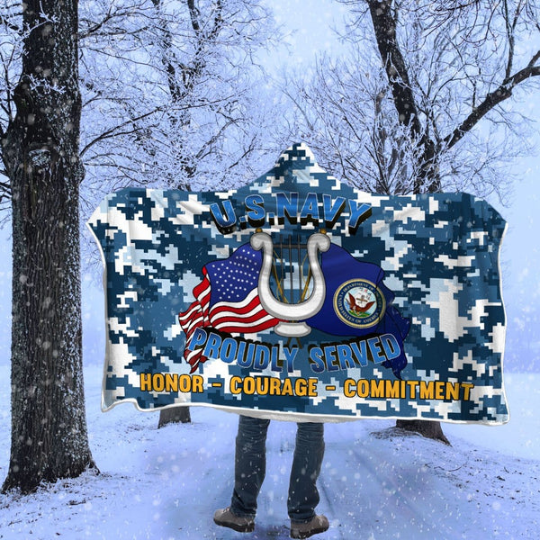 Navy Musician Navy MU Proudly Served Hooded Blanket