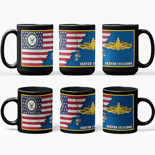 US Navy Insignia With American Flag - Personalized 11oz - 15oz Black Mug