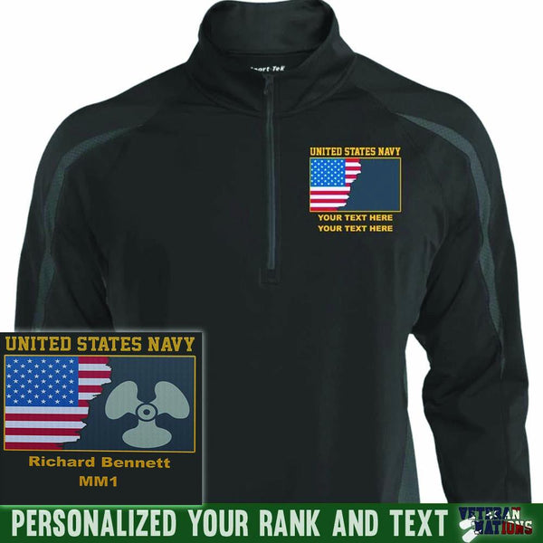 US Navy Rate - Personalized Embroidered Sport-Tek® ST851 Sport-Tek Men's Sport Wicking Colorblock 1/2 Zip