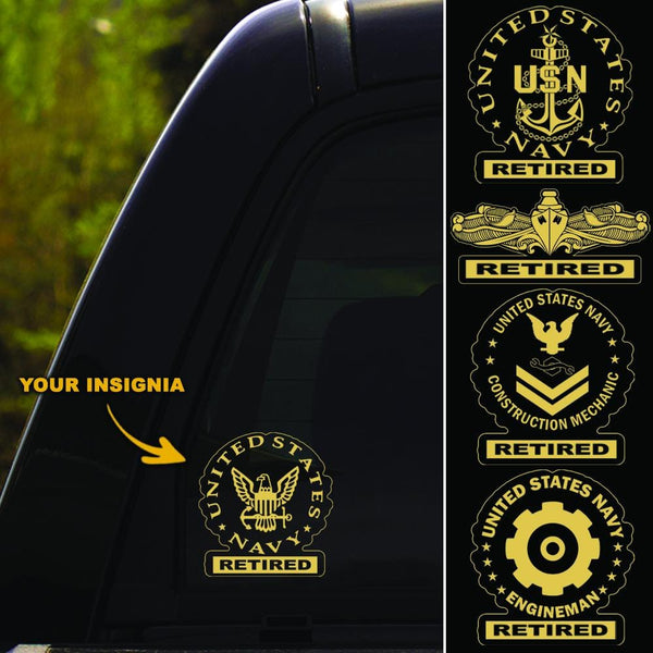 US Navy Insignia Retired Clear Stickers