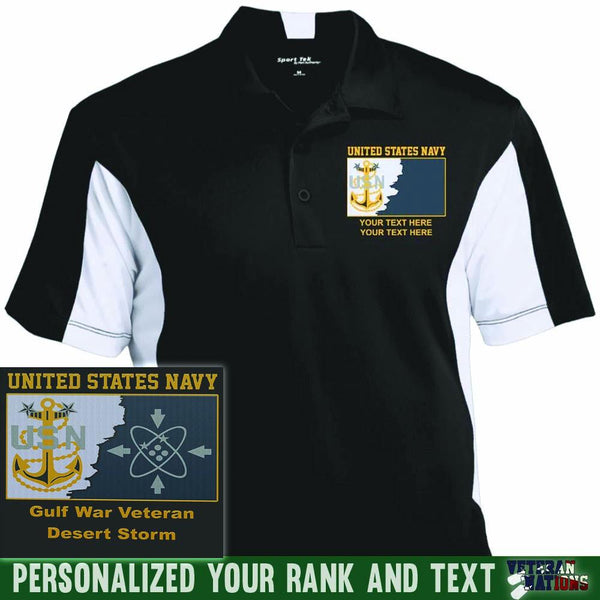 US Navy E9 - Master Chief Petty Officer MCPO Rating Badge Personalized Embroidered Sport-Tek® Performance Polo Shirt