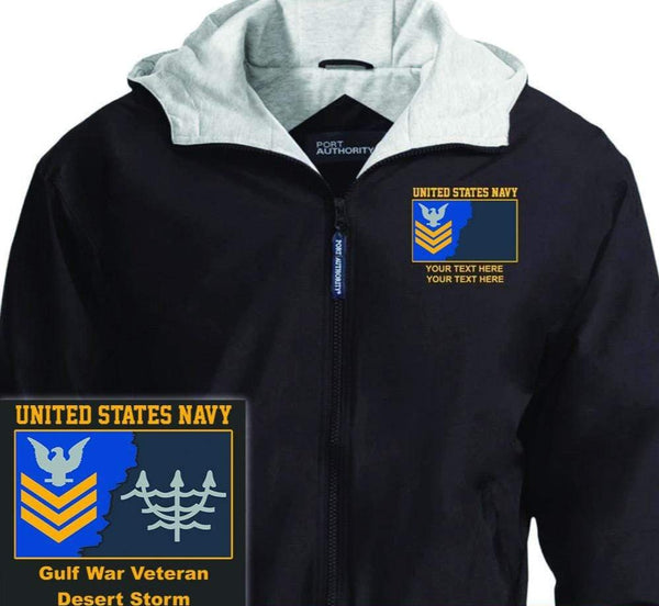 US Navy E6 Gold - Stripe Petty Officer First Class PO1 Rating Badge Personalized Embroidered Team Jacket