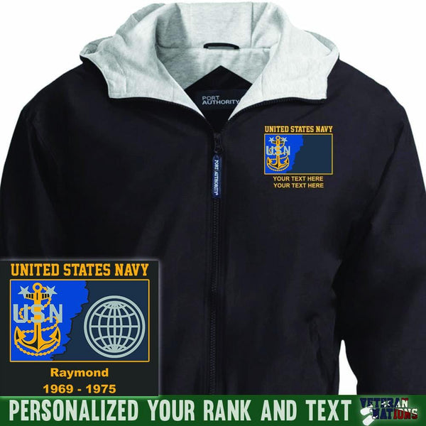US Navy E9 - Master Chief Petty Officer MCPO Rating Badge Personalized Embroidered Team Jacket