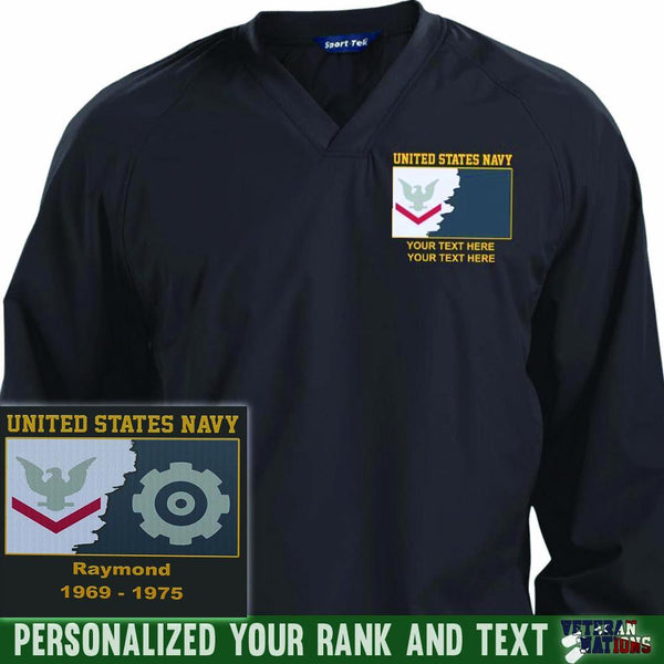 US Navy E4 - Petty Officer Third Class PO3 Rating Badge Personalized Embroidered Sport-Tek® Pullover V-Neck Windshirt