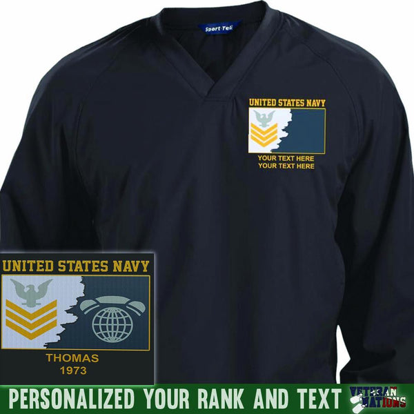 US Navy E6 Gold - Stripe Petty Officer First Class PO1 Rating Badge Personalized Embroidered Sport-Tek® Pullover V-Neck Windshirt
