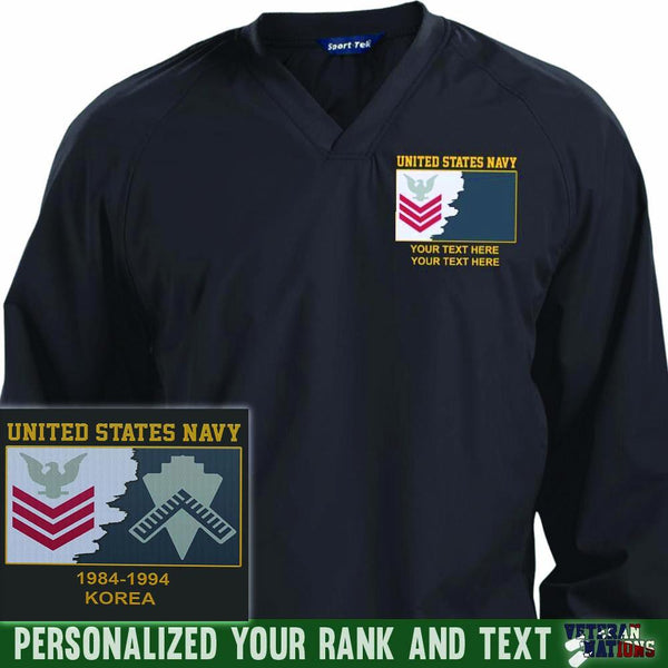 US Navy E6 Red - Stripe Petty Officer First Class PO1 Rating Badge Personalized Embroidered Sport-Tek® Pullover V-Neck Windshirt