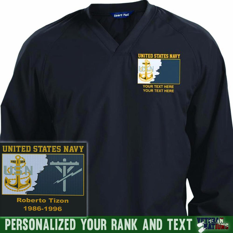 US Navy E7 - Chief Petty Officer CPO Rating Badge Personalized Embroidered Sport-Tek® Pullover V-Neck Windshirt