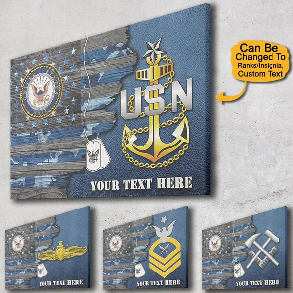 Personalized Navy Canvas - USA Half Flag With Navy Ranks/Insignia - Personalized Name & Logo