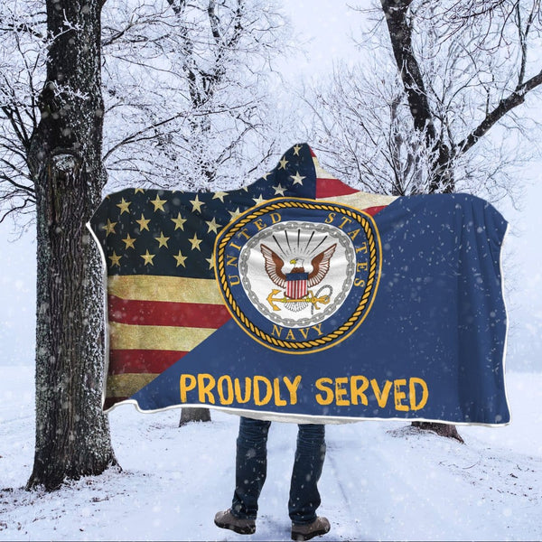 US Navy Proudly Served Hooded Blanket