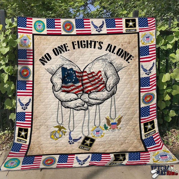 No One Fights Alone - U.S Military Blanket Quilt