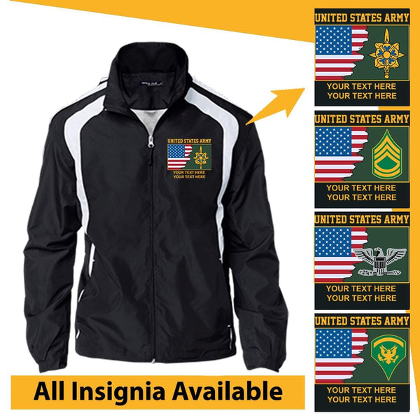 Personalized USA Flag with US Army Insignia and Text Embroidered Jersey-Lined Jacket