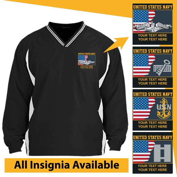 US Navy Personalized Insignia and Text Embroidered Windshirt