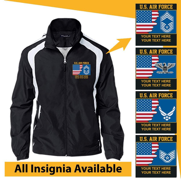 Personalized USA Flag with US Air Force Insignia and Text Embroidered Jersey-Lined Jacket