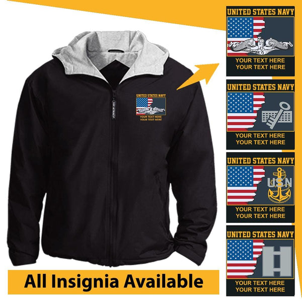 US Navy Personalized Insignia Embroidered Team Jacket