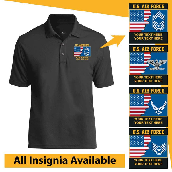 Personalized USA Flag with US Air Force Logo/Insignia and Text - Embroidered  Polo Shirt