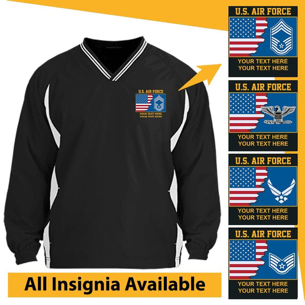 US Air Force Personalized Insignia and Text Embroidered Windshirt