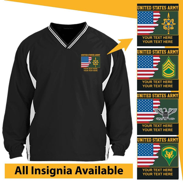 US Army Personalized Insignia and Text Embroidered Windshirt