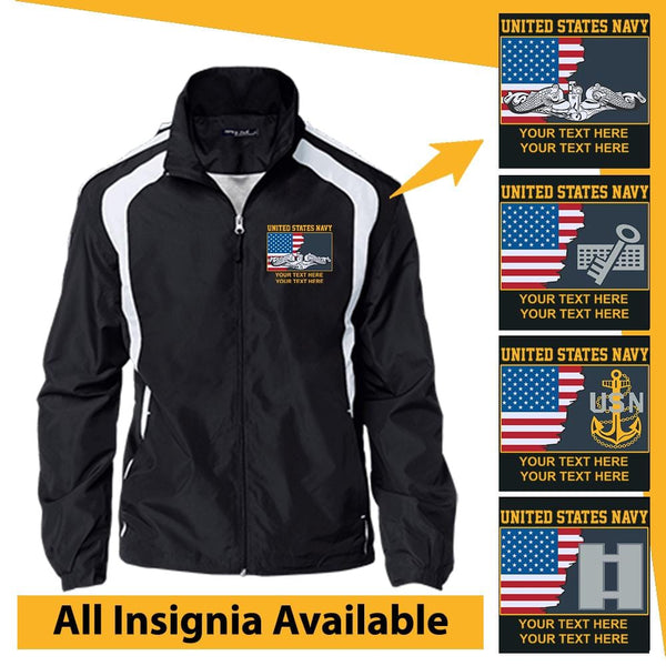 Personalized USA Flag with US Navy Insignia and Text Embroidered Jersey-Lined Jacket