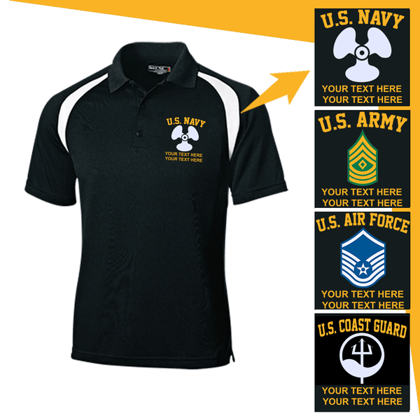 Personalized Military Logo/Insignia and Text  Embroidered Golf Shirt
