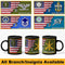 Personalized USA Flag with Military Insignia and Text 11oz-15oz Black Mug