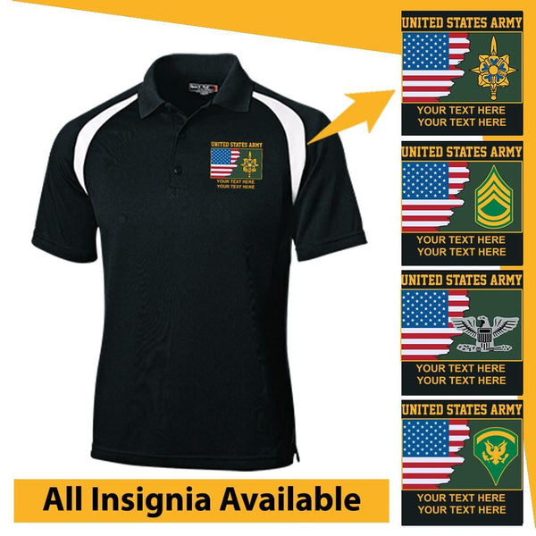 Personalized USA Flag With US Army Insignia/Logo and Text Embroidered Veteran Nations® Golf Shirt