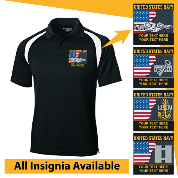 Personalized USA Flag With US Navy Insignia/Logo and Text Embroidered Veteran Nations® Golf Shirt