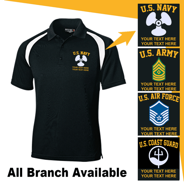 Personalized Military Logo/Insignia and Text Veteran Nations® Embroidered Golf Shirt