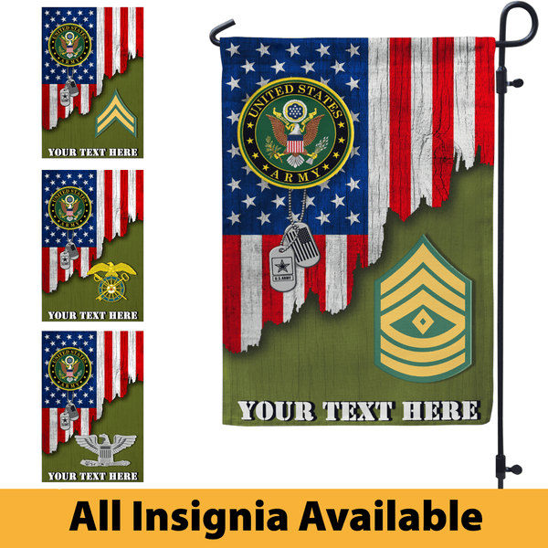 Personalized US Army Logo/Insignia and Text Garden Flag/Yard Flag 12 inches x 18 inches Twin-Side Printing