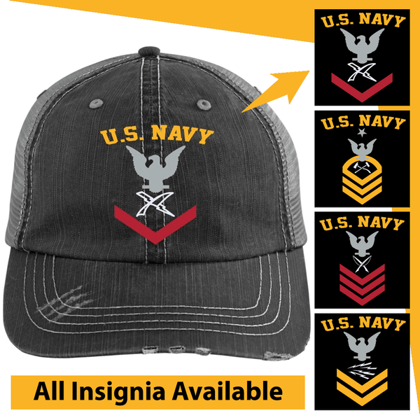 US Navy Rating Badge Embroidered Distressed Unstructured Trucker Cap