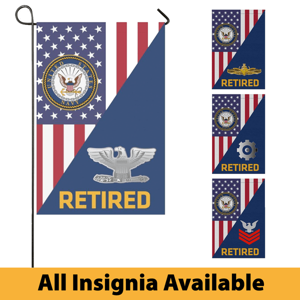 US Navy Insignia Retired With America Flag Garden Flag/Yard Flag 12 Inch x 18 Inch Twin-Side Printing