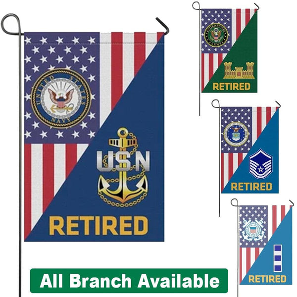 US Military Insignia Retired With America Flag Garden Flag/Yard Flag 12 Inch x 18 Inch Twin-Side Printing