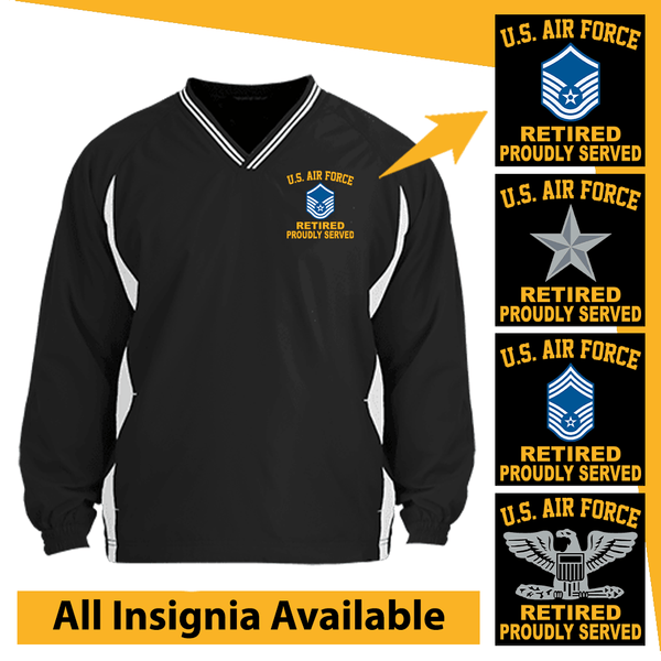 US Air Force Insignia Retired Proudly Served Embroidered Windshirt