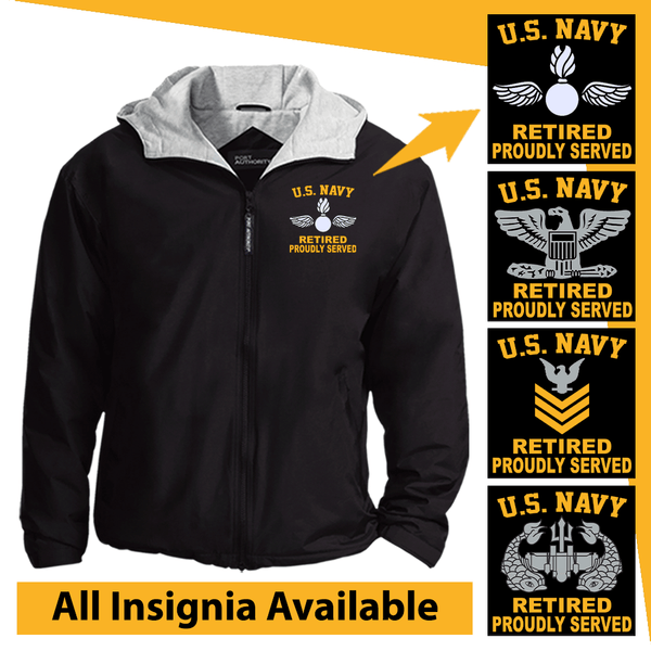US Navy Insignia Retired Proudly Served Embroidered Team Jacket