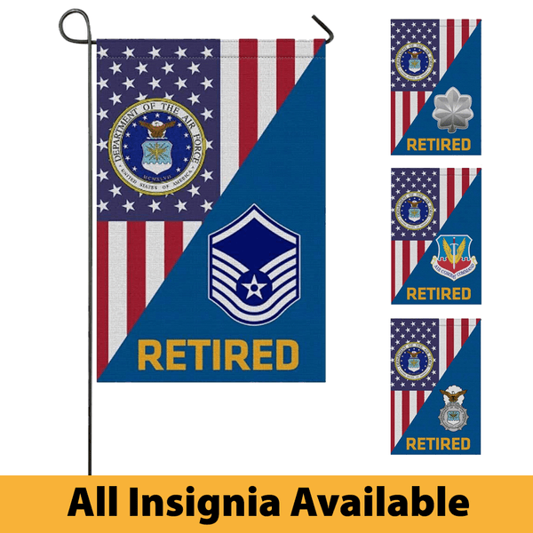 US Air Force Insignia Retired With America Flag Garden Flag/Yard Flag 12 Inch x 18 Inch Twin-Side Printing